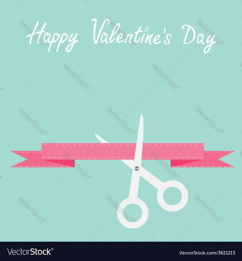 Scissors cut decorative pink ribbon with dash line vector | Price: 1 Credit (USD $1)