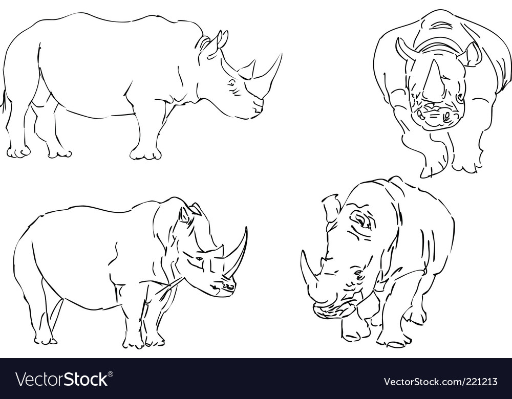 Illustration sketch of rhino vector | Price: 1 Credit (USD $1)
