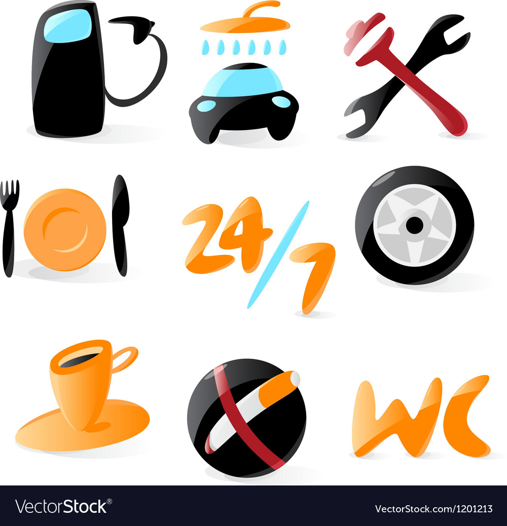 Smooth car service icons vector | Price: 1 Credit (USD $1)