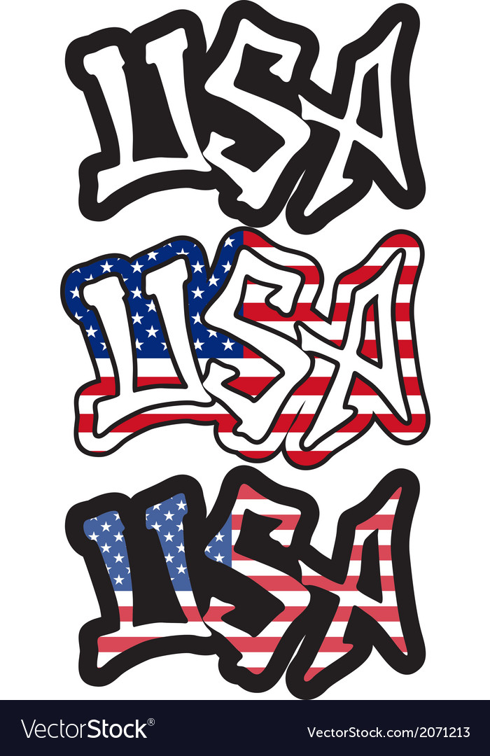 Usa word graffiti style vector | Price: 1 Credit (USD $1)
