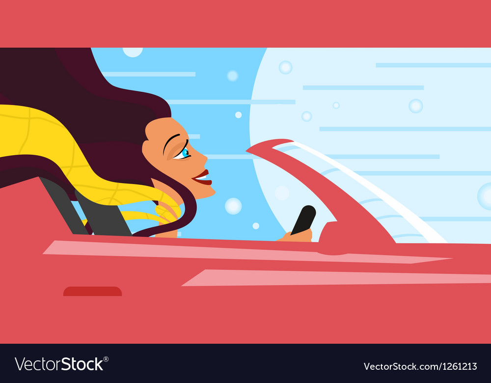 Woman driver vector | Price: 1 Credit (USD $1)