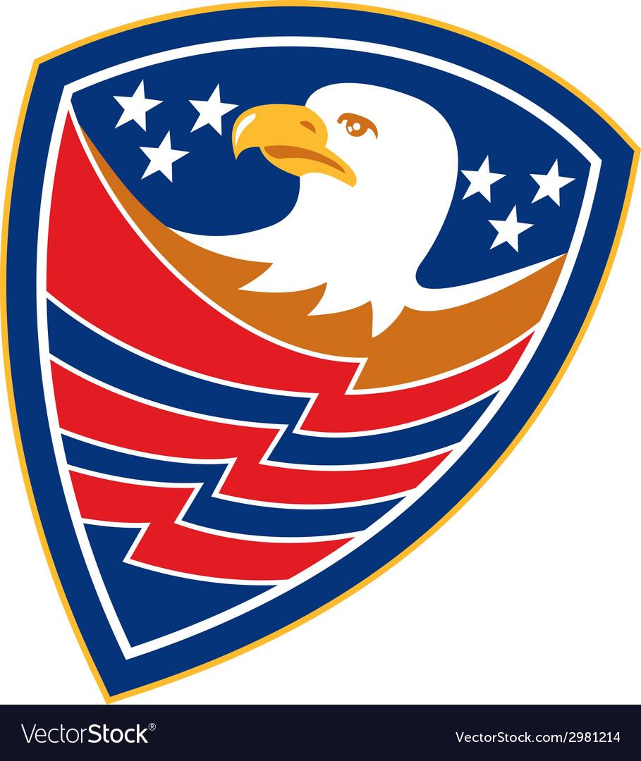 American bald eagle head flag shield retro vector | Price: 1 Credit (USD $1)