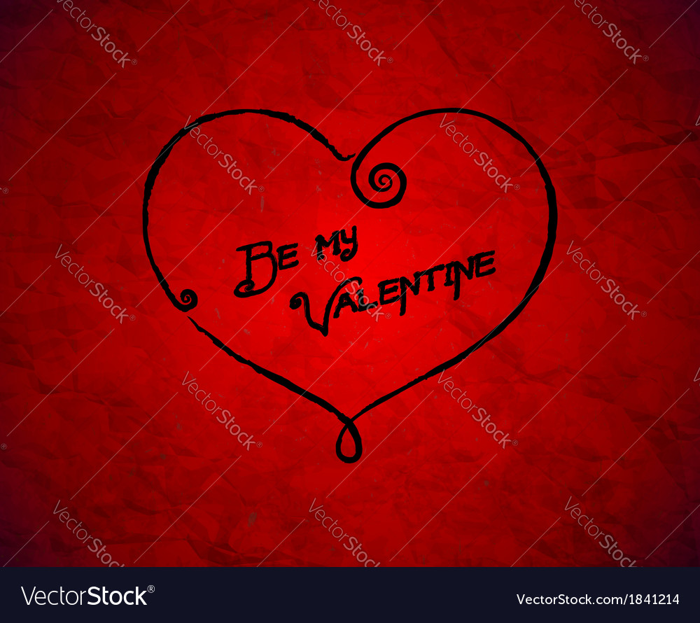 Be my valentine drawn card on red paper vector | Price: 1 Credit (USD $1)