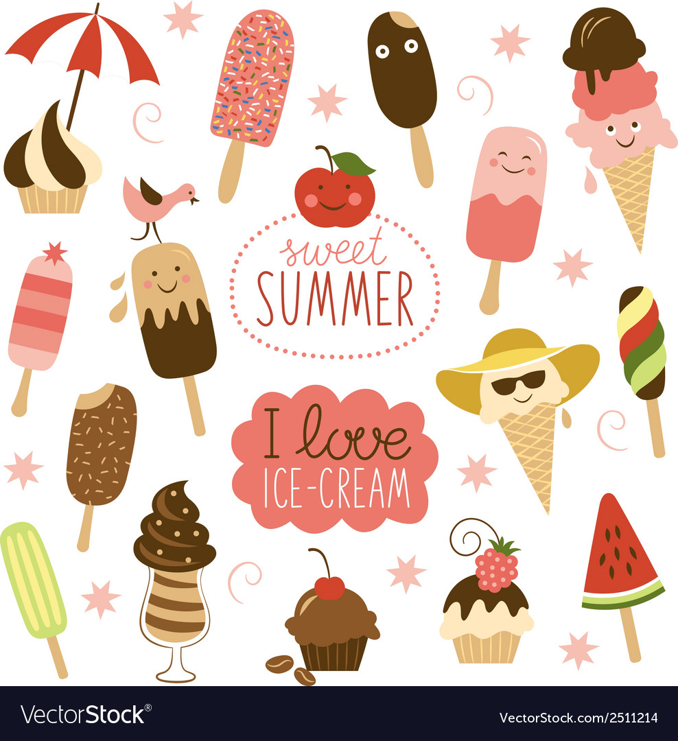 Collection of ice cream vector | Price: 1 Credit (USD $1)