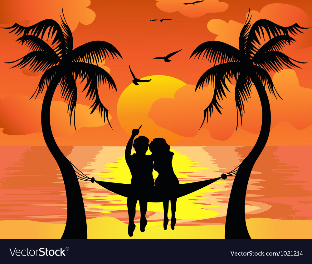 Lover watching sunset vector | Price: 1 Credit (USD $1)