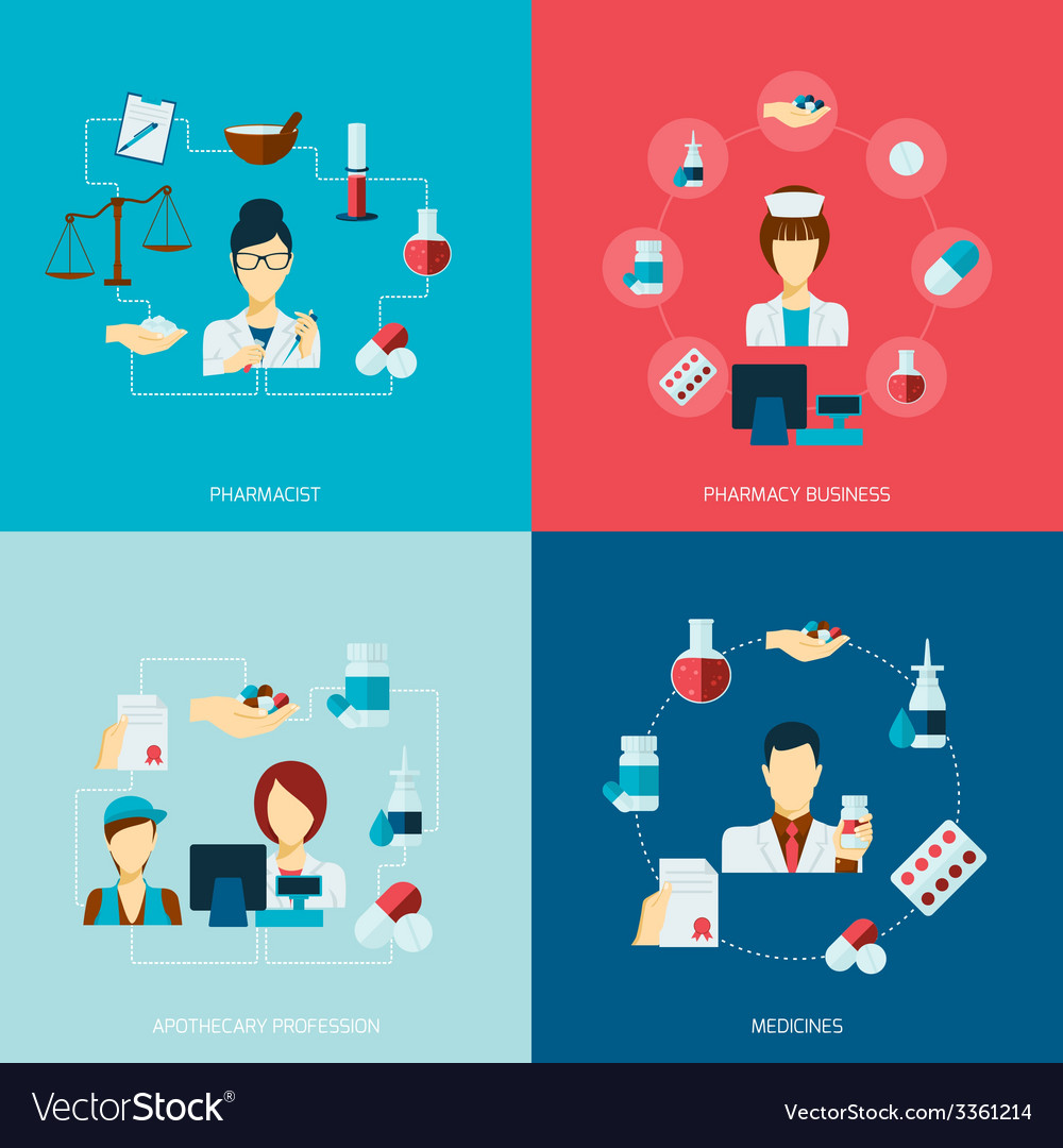Pharmacist icon flat set vector | Price: 1 Credit (USD $1)