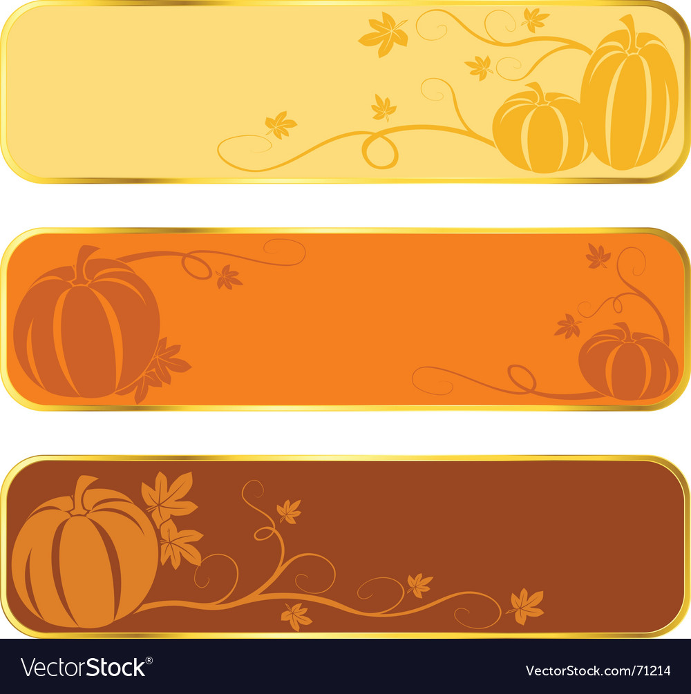 Pumpkin banners with gold rim vector | Price: 1 Credit (USD $1)