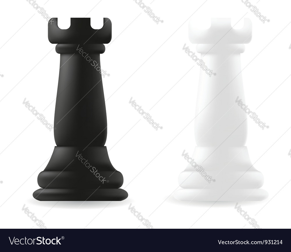 Rook chess piece black and white vector | Price: 1 Credit (USD $1)