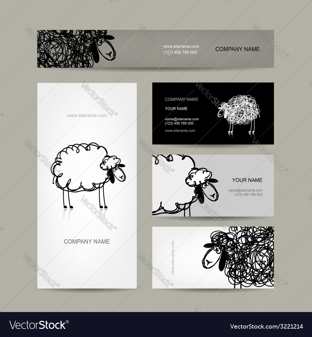 Set of business cards design sheep sketch vector | Price: 1 Credit (USD $1)