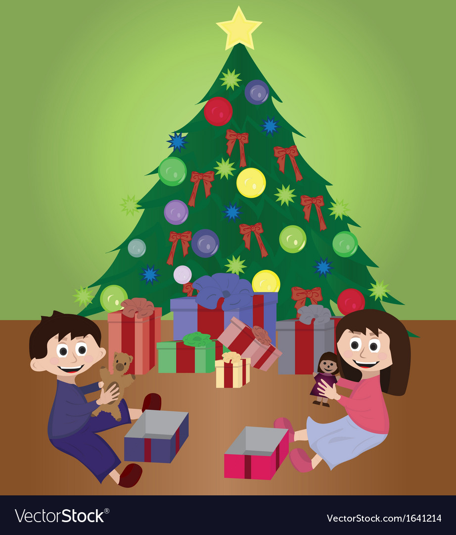 Twins opening christmas gifts vector | Price: 1 Credit (USD $1)