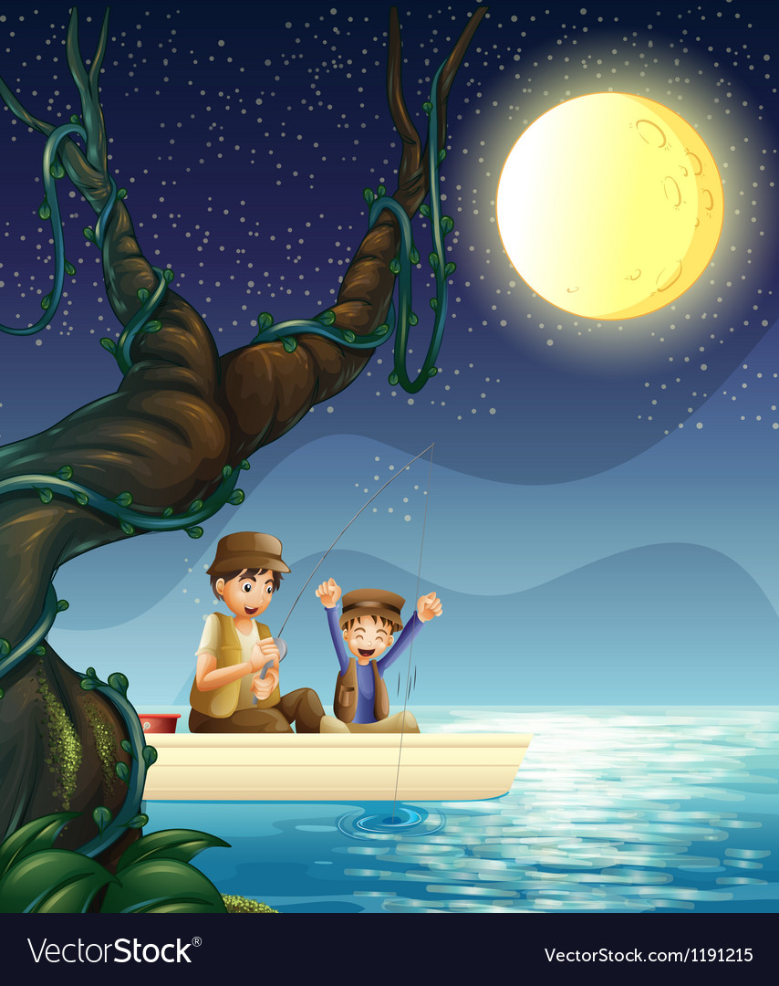 A father and child fishing vector | Price: 1 Credit (USD $1)