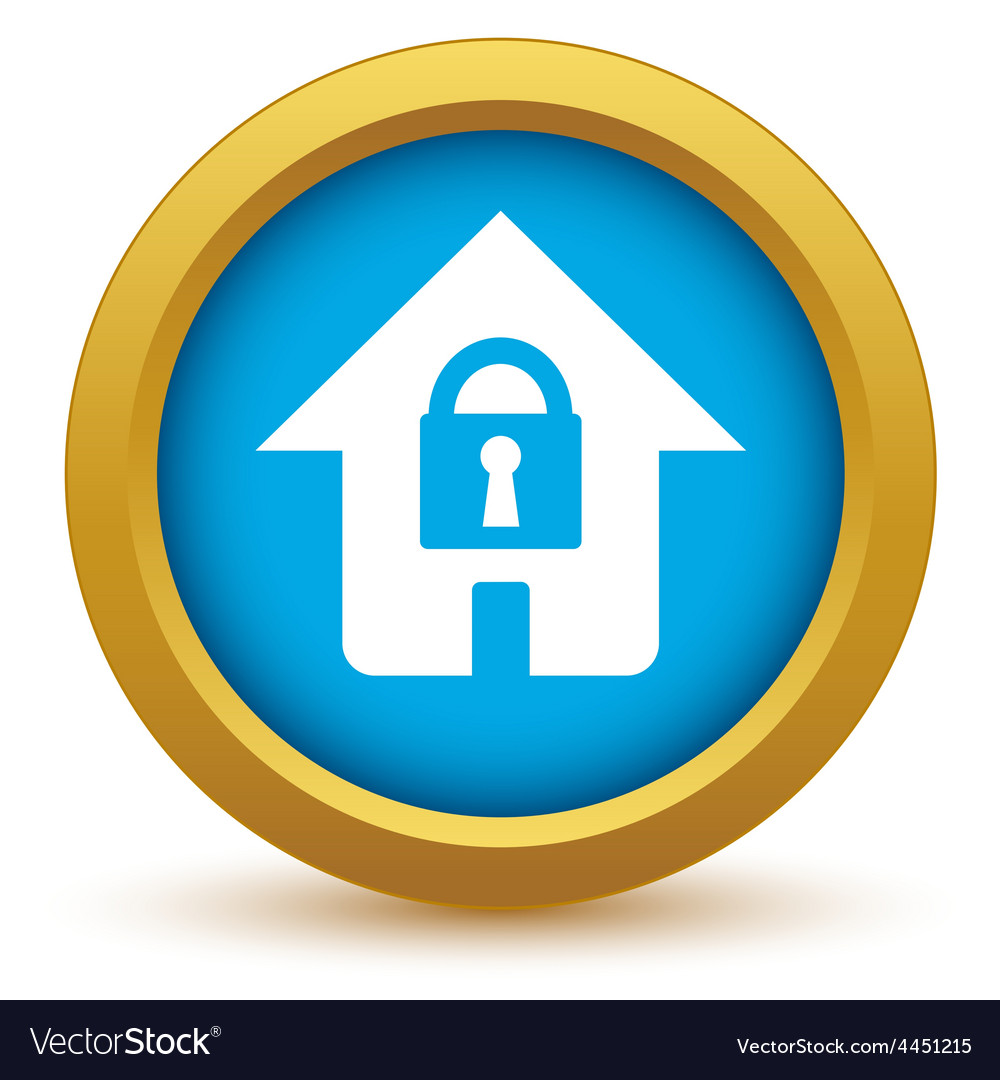 Gold lock house icon vector | Price: 1 Credit (USD $1)