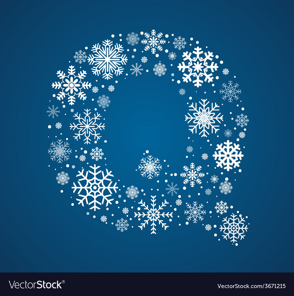 Letter q font frosty snowflakes vector | Price: 1 Credit (USD $1)