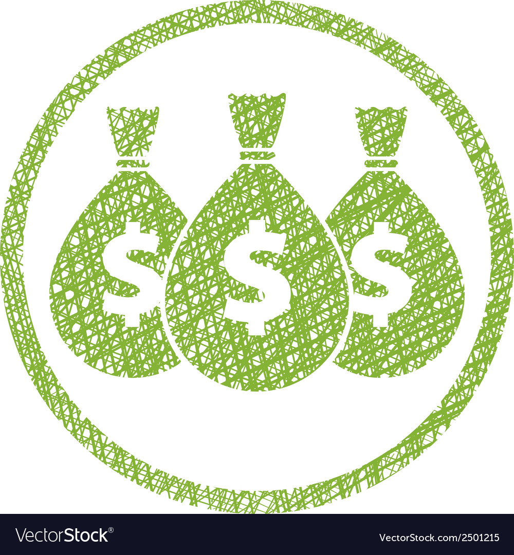 Money icon with three bags symbol with hand drawn vector | Price: 1 Credit (USD $1)