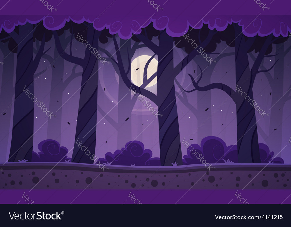 Night forest background vector | Price: 3 Credit (USD $3)