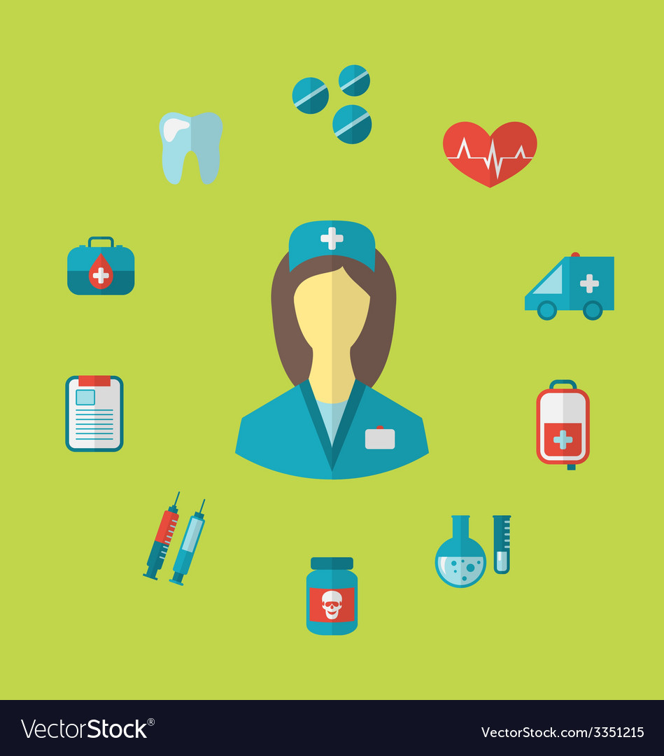 Set trendy medical icons in flat style - vector | Price: 1 Credit (USD $1)