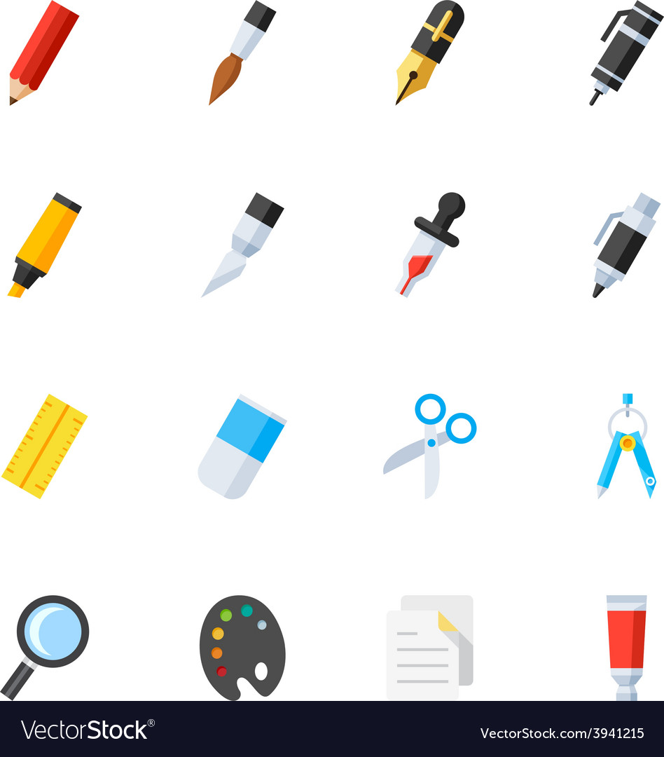 Stationery and painting tools icons vector | Price: 1 Credit (USD $1)
