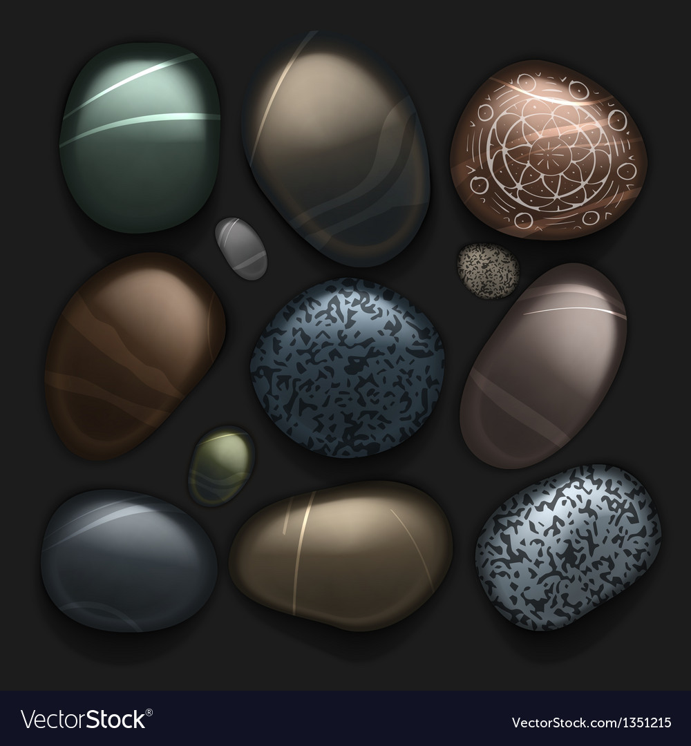 Stones pebble collection isolated on black vector | Price: 1 Credit (USD $1)