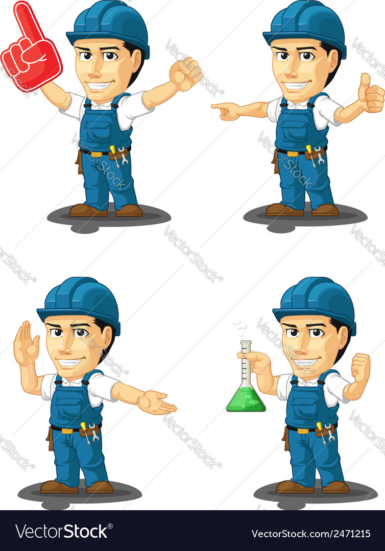 Technician or repairman mascot 13 vector | Price: 1 Credit (USD $1)