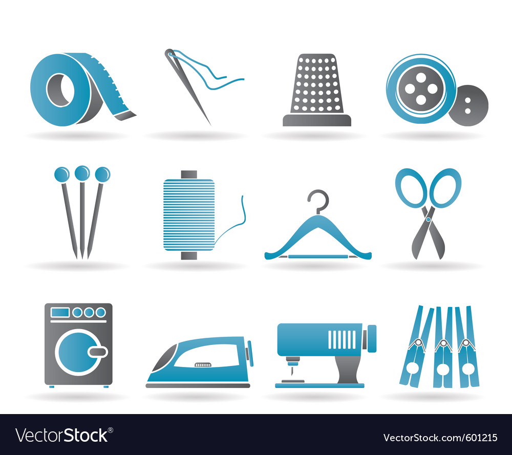 Textile objects and industry icons vector | Price: 1 Credit (USD $1)