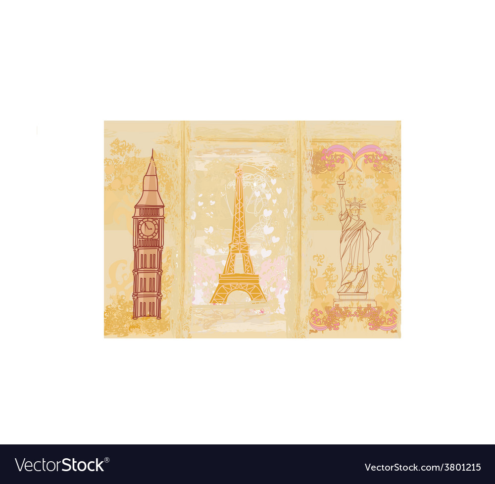 Travel design element with different monuments vector   Price: 1 Credit (USD $1)