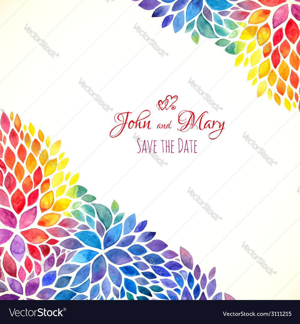 Watercolor painted rainbow colors invitation vector | Price: 1 Credit (USD $1)