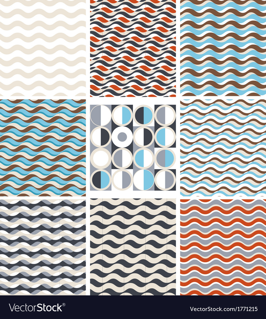 Waves - set of geometric seamless patterns vector | Price: 1 Credit (USD $1)