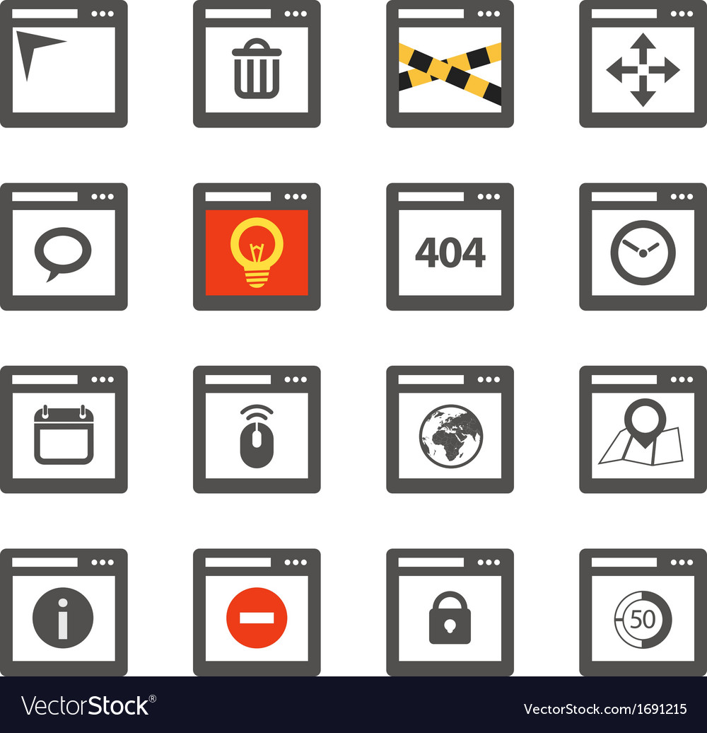 Web browser windows with icons collection vector | Price: 1 Credit (USD $1)