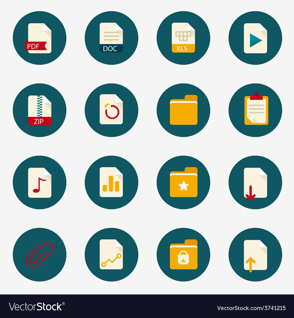 Web flat document icons with folder vector | Price: 1 Credit (USD $1)