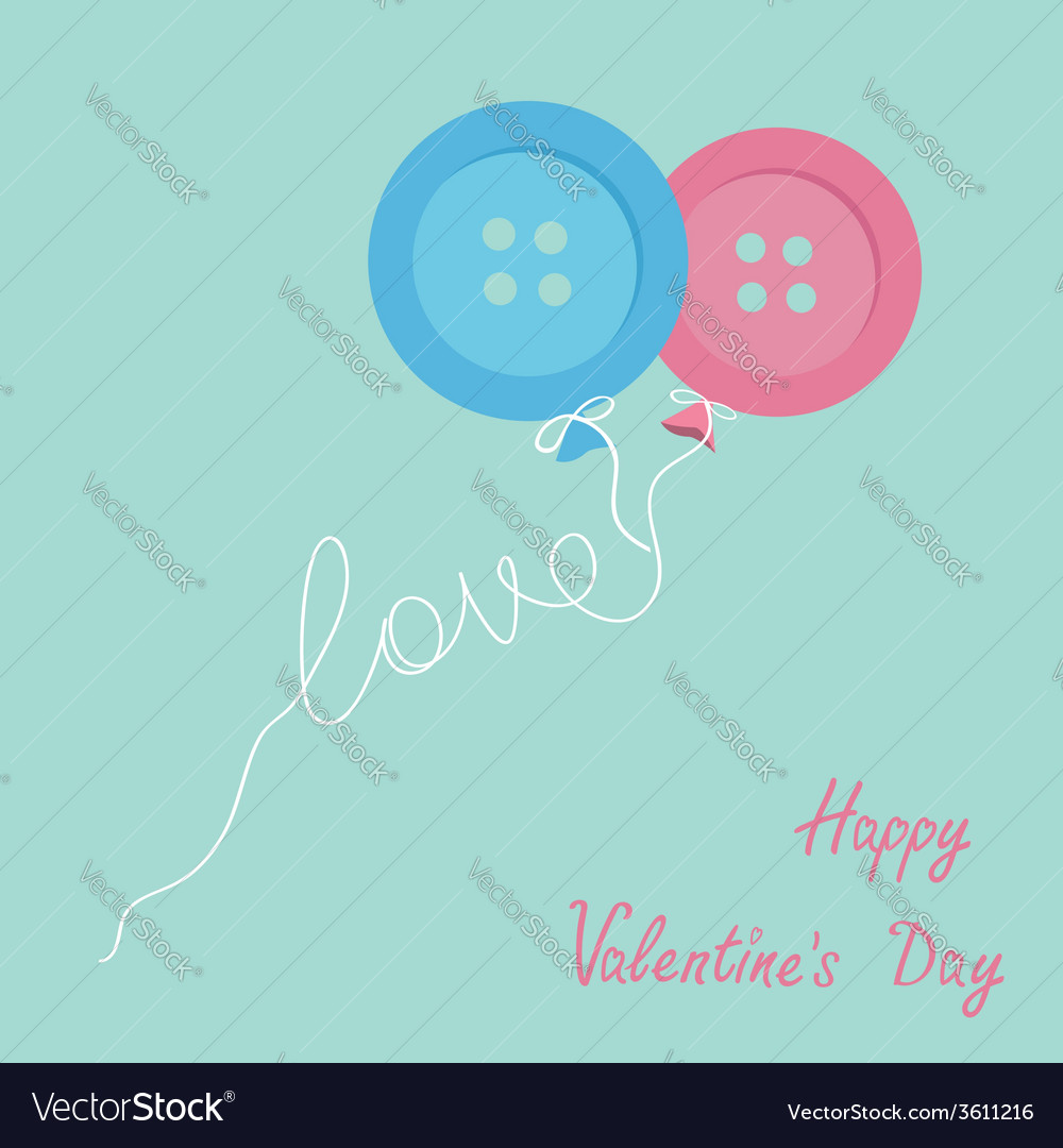 Blue pink button balloons love thread card flat vector | Price: 1 Credit (USD $1)