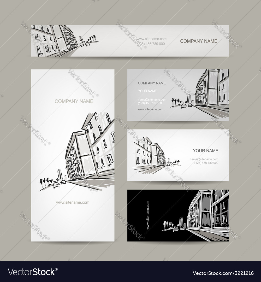 Business cards design with cityscape sketch vector   Price: 1 Credit (USD $1)