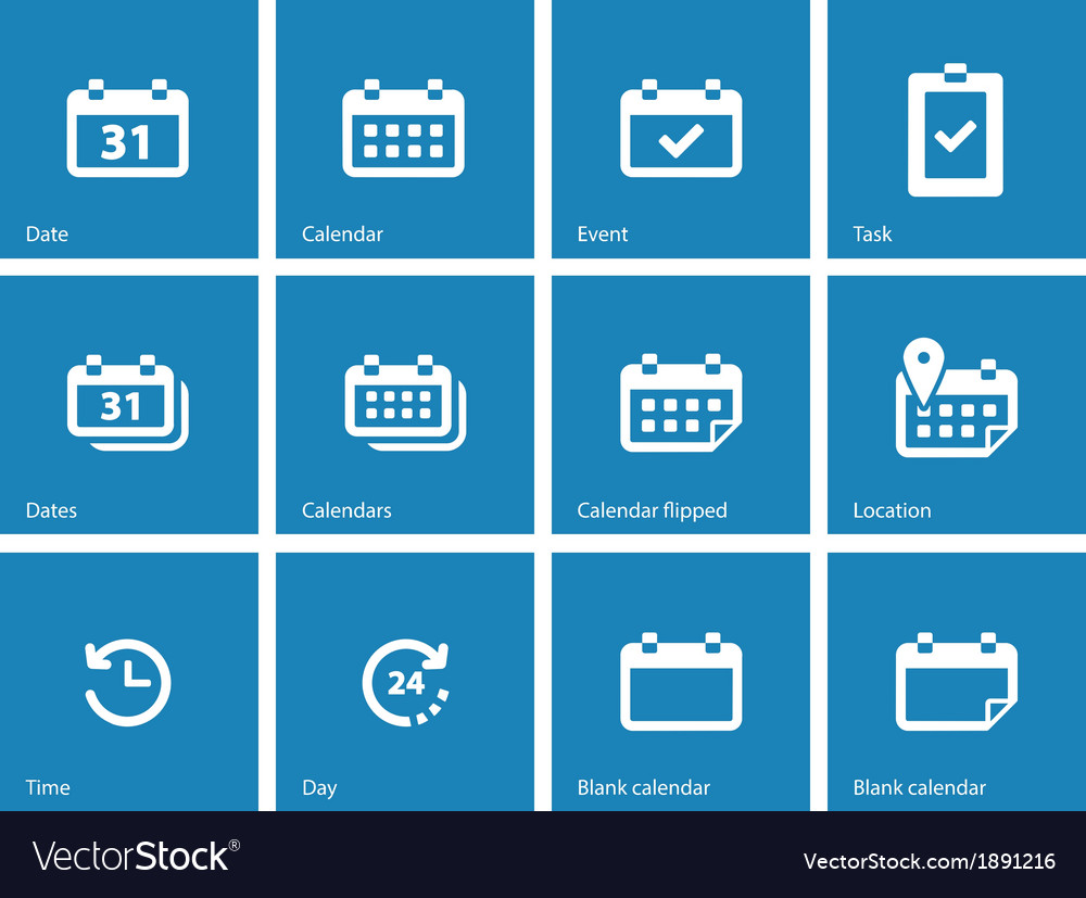 Calendar icons on blue background vector | Price: 1 Credit (USD $1)