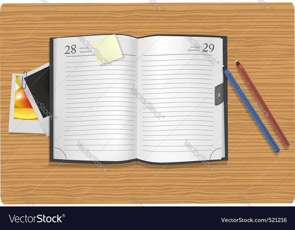 Dairy and office supplies on the desk vector | Price: 3 Credit (USD $3)
