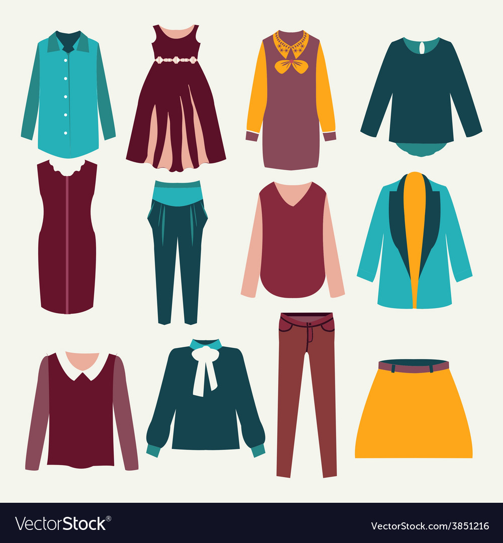 Fashion flat female clothing vector | Price: 1 Credit (USD $1)