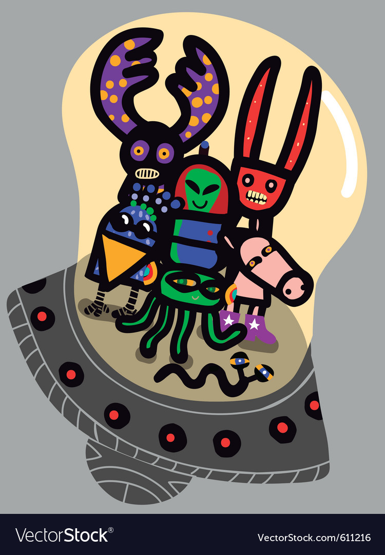 Friendly aliens vector | Price: 1 Credit (USD $1)