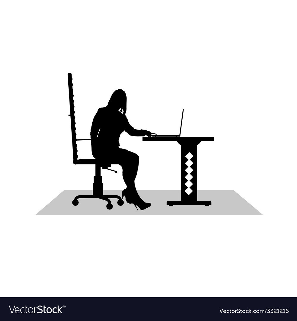 Girl work at the computer vector | Price: 1 Credit (USD $1)