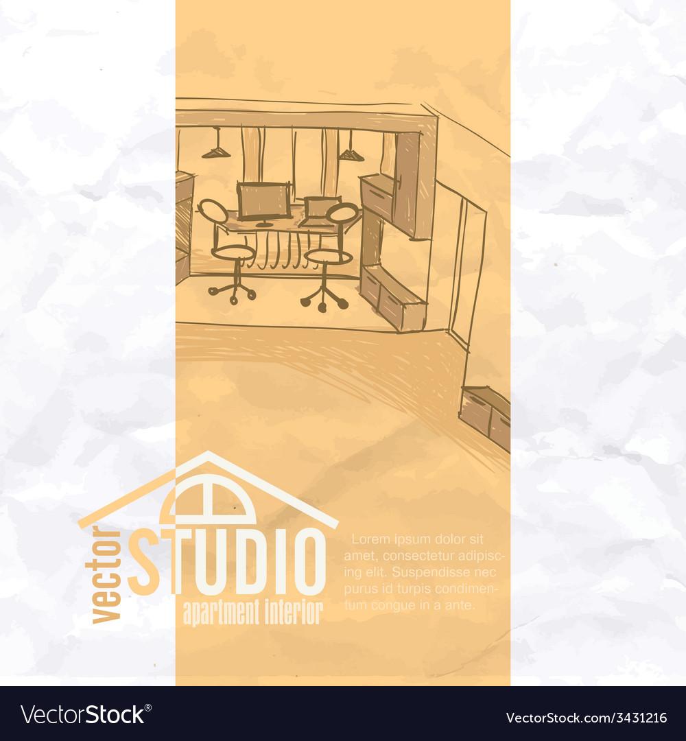 Home office interior sketch vector   Price: 1 Credit (USD $1)