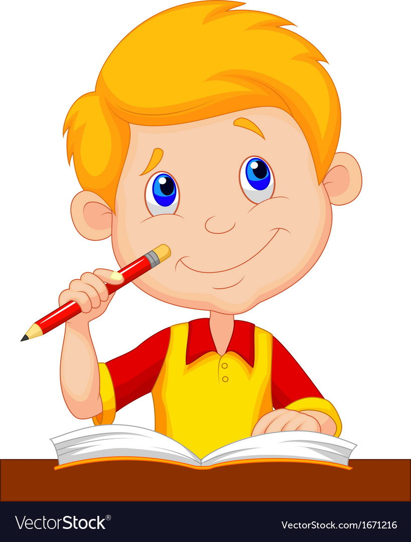 Little boy cartoon studying vector | Price: 1 Credit (USD $1)