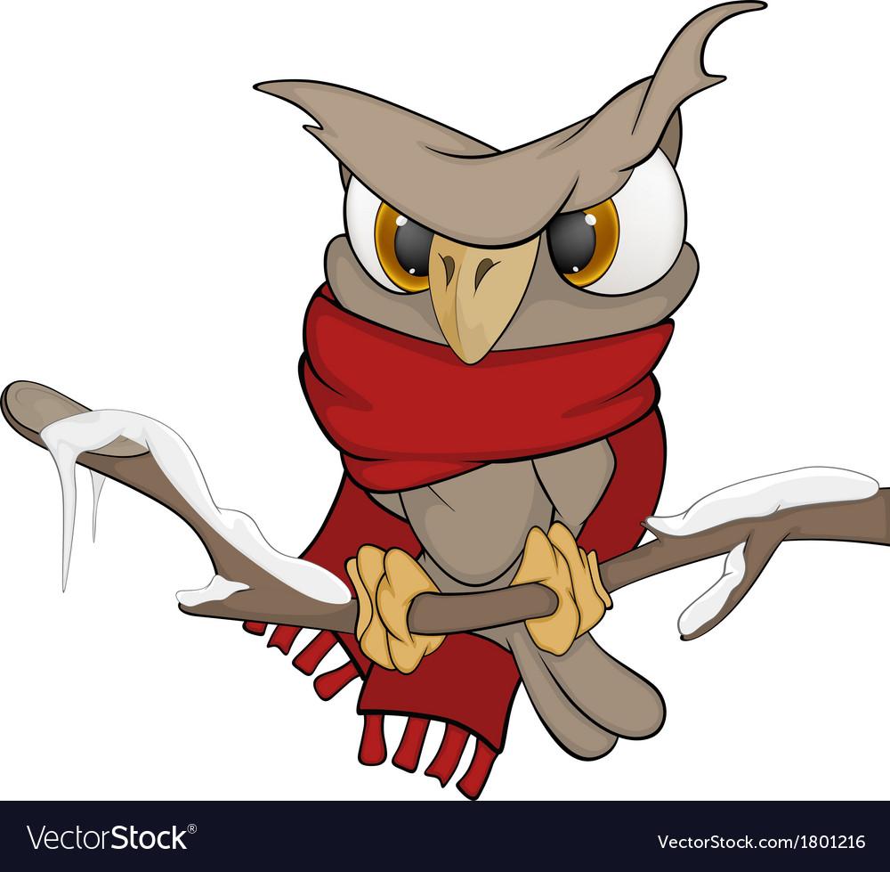 Owl in the winter cartoon vector | Price: 1 Credit (USD $1)