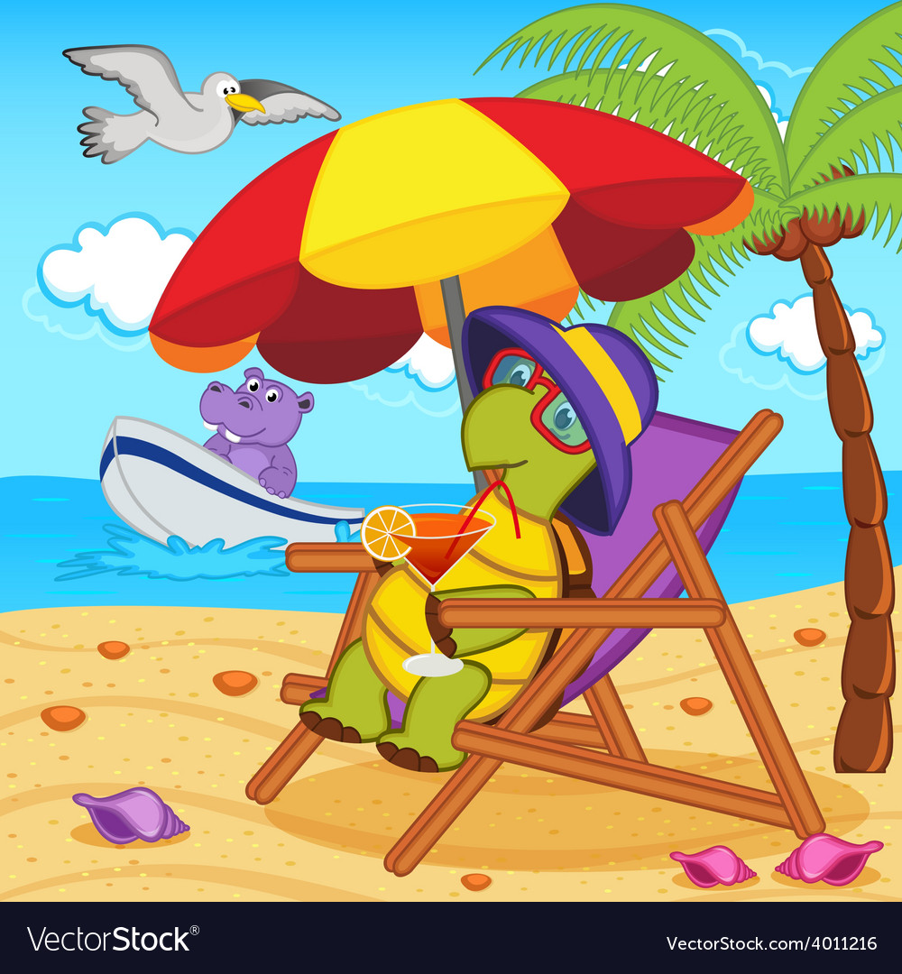 Turtle drinking cocktail in lounge chair on beach vector | Price: 3 Credit (USD $3)