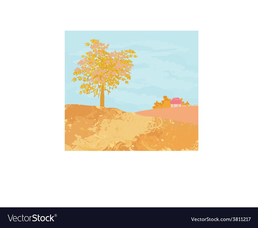 Beautiful autumn rural landscape vector | Price: 1 Credit (USD $1)