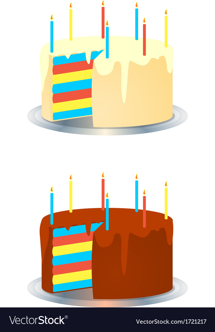 Cream and chocolate rainbow birthday party cakes vector | Price: 1 Credit (USD $1)