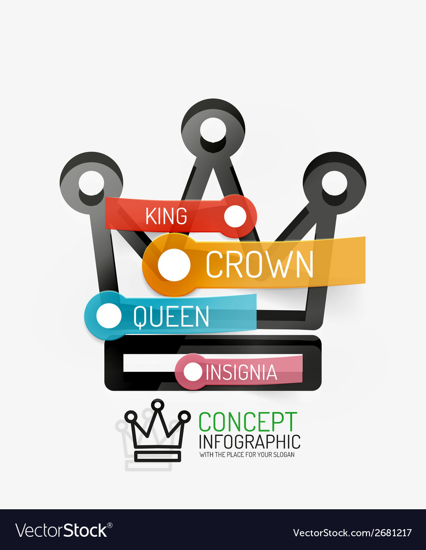 Crown infographics line style and keys vector | Price: 1 Credit (USD $1)
