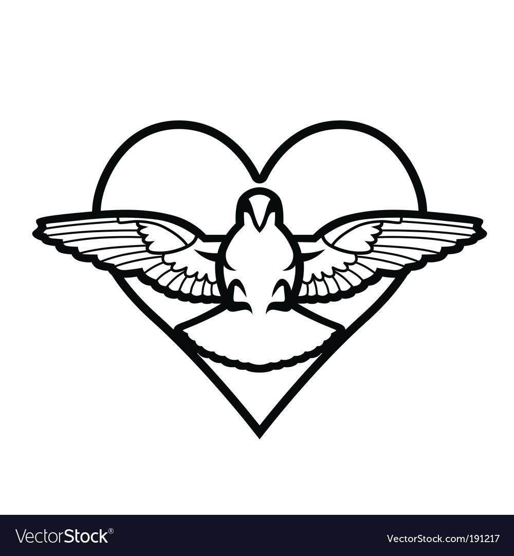 Dove heart tattoo vector   Price: 1 Credit (USD $1)