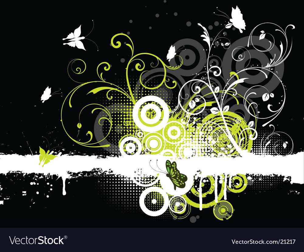 Floral grunge butterflies vector