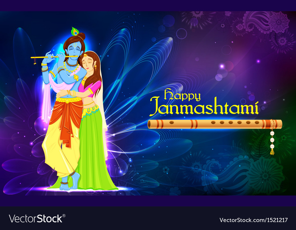 Radha and lord krishna on janmashtami vector | Price: 3 Credit (USD $3)