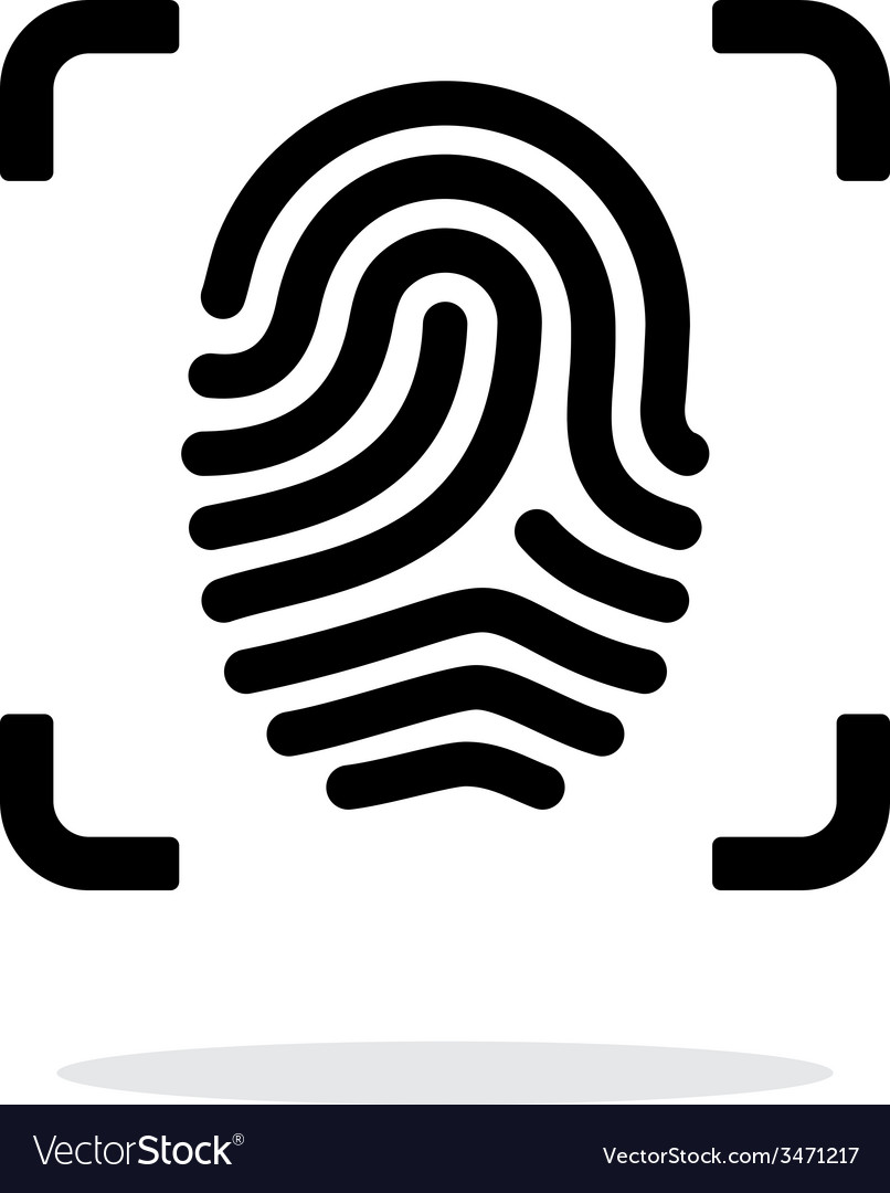 Scanning finger icon on white background vector | Price: 1 Credit (USD $1)