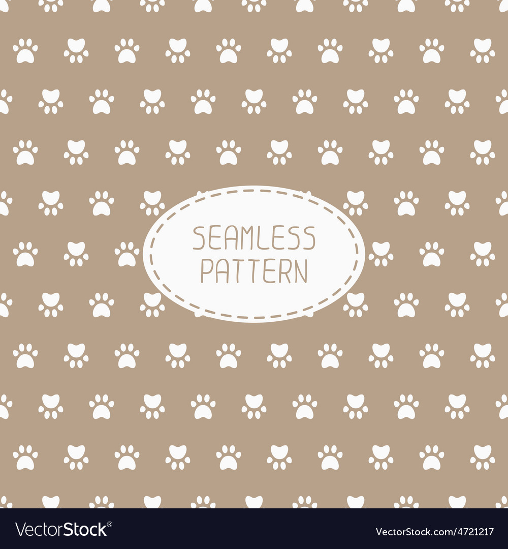 Seamless pattern with animal footprints cat dog vector | Price: 1 Credit (USD $1)