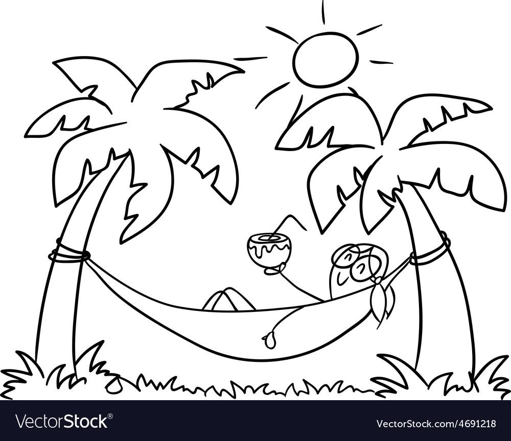 Girl in a hammock doodle vector | Price: 1 Credit (USD $1)