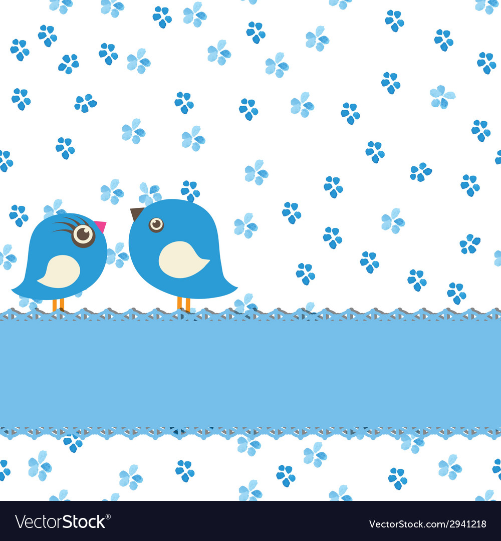 Greeting card with two cute birds on painting vector | Price: 1 Credit (USD $1)